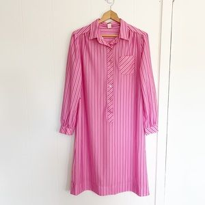 Vintage 60's pink striped popover shift dress